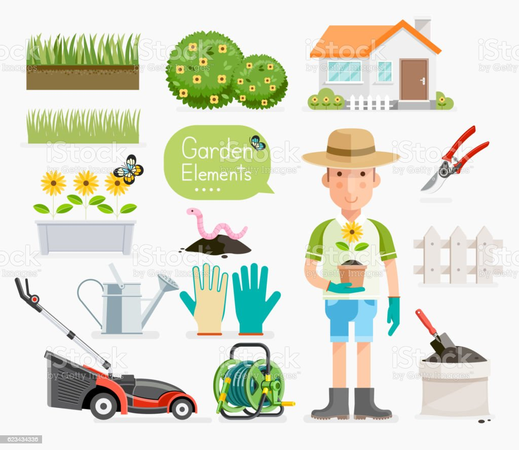 Conceptual of Gardening . Gardener and Garden tools equipment. vector art illustration