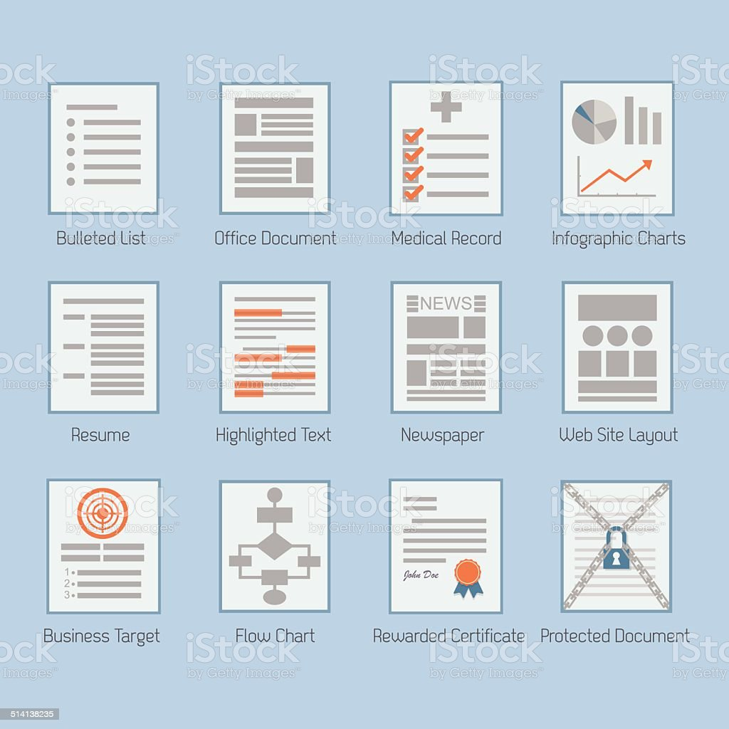 Conceptual web and paper document layouts icons set vector art illustration