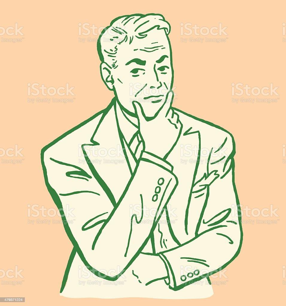 Concerned Man vector art illustration