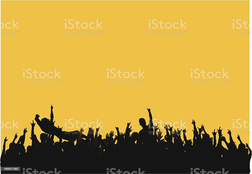 Concert crowd vector art illustration