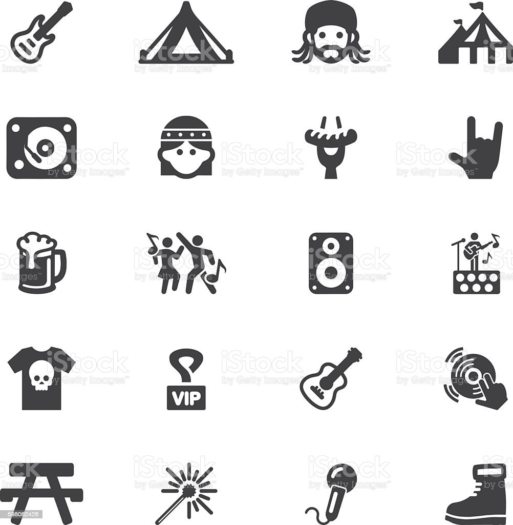 Concert Festival Event Silhouette 20 icons | EPS10 vector art illustration