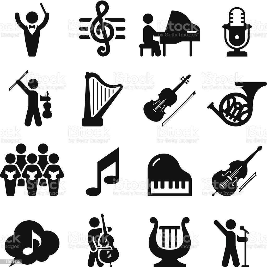 Concert Icons - Black Series vector art illustration