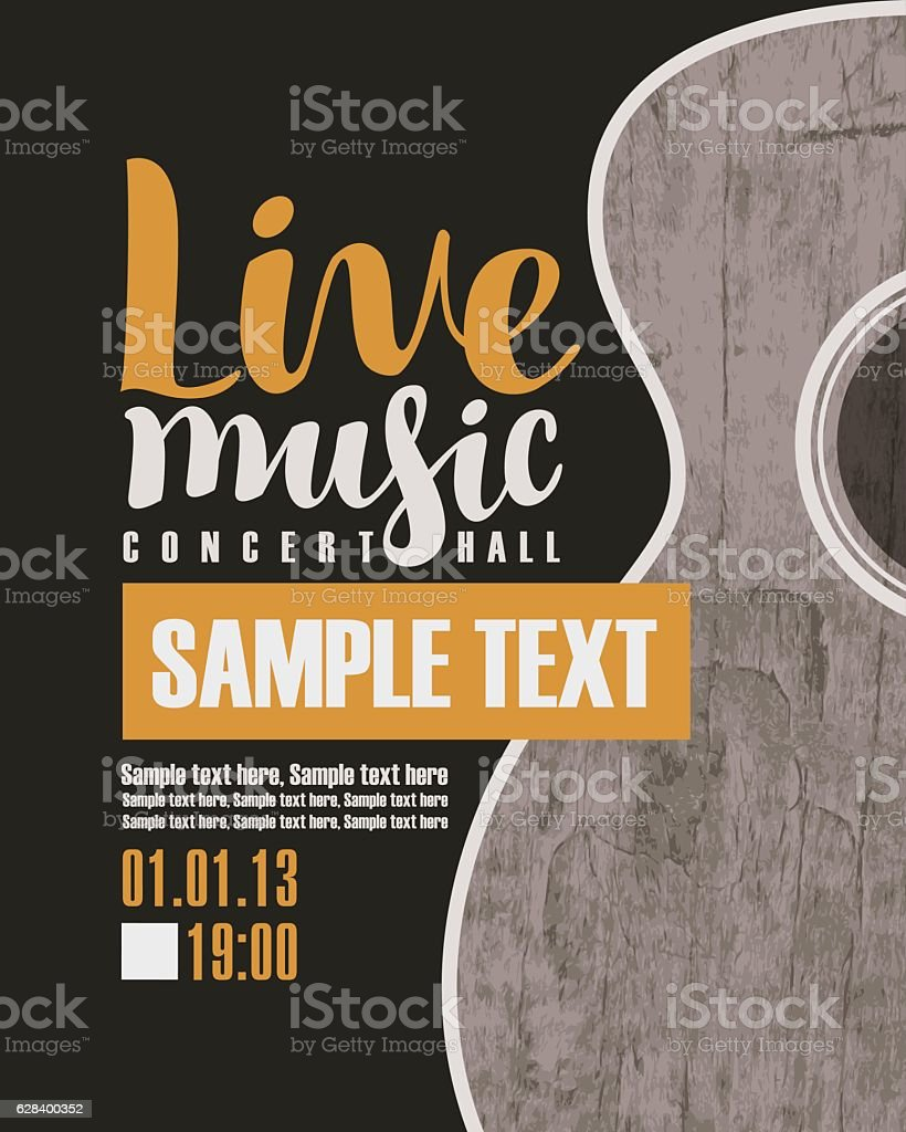 concert live music with a guitar vector art illustration