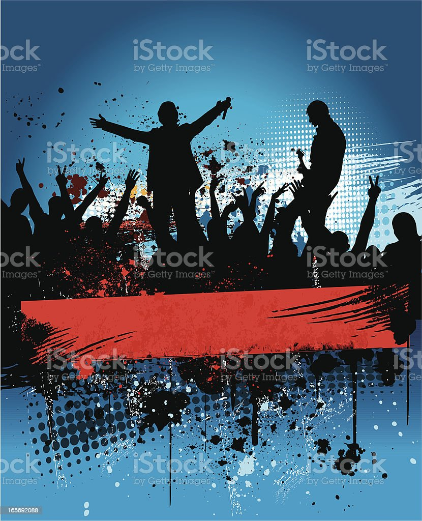 A concert photo of the band and fans vector art illustration
