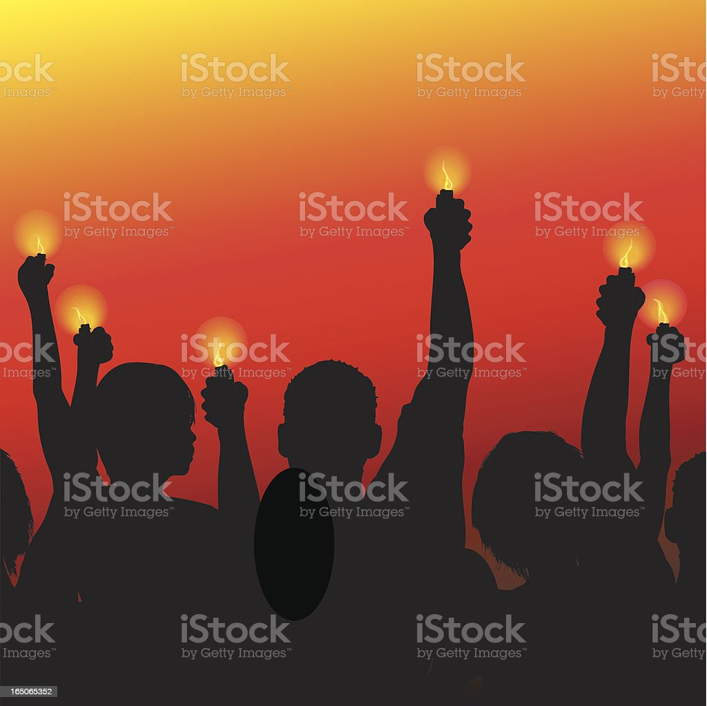 Concert Scene with Lighters royalty-free stock vector art
