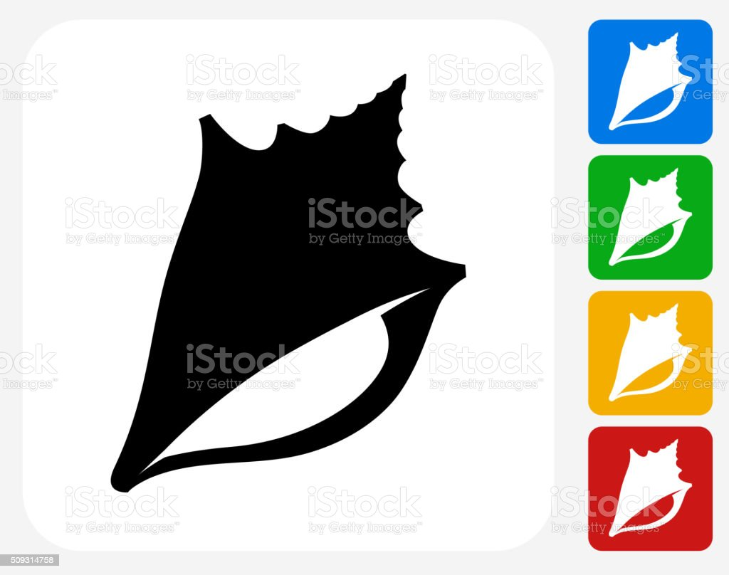 Conch Shell Icon Flat Graphic Design vector art illustration