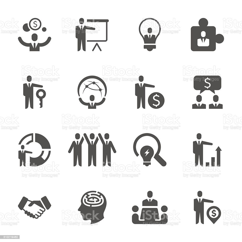 Concise icons - Business performance vector art illustration