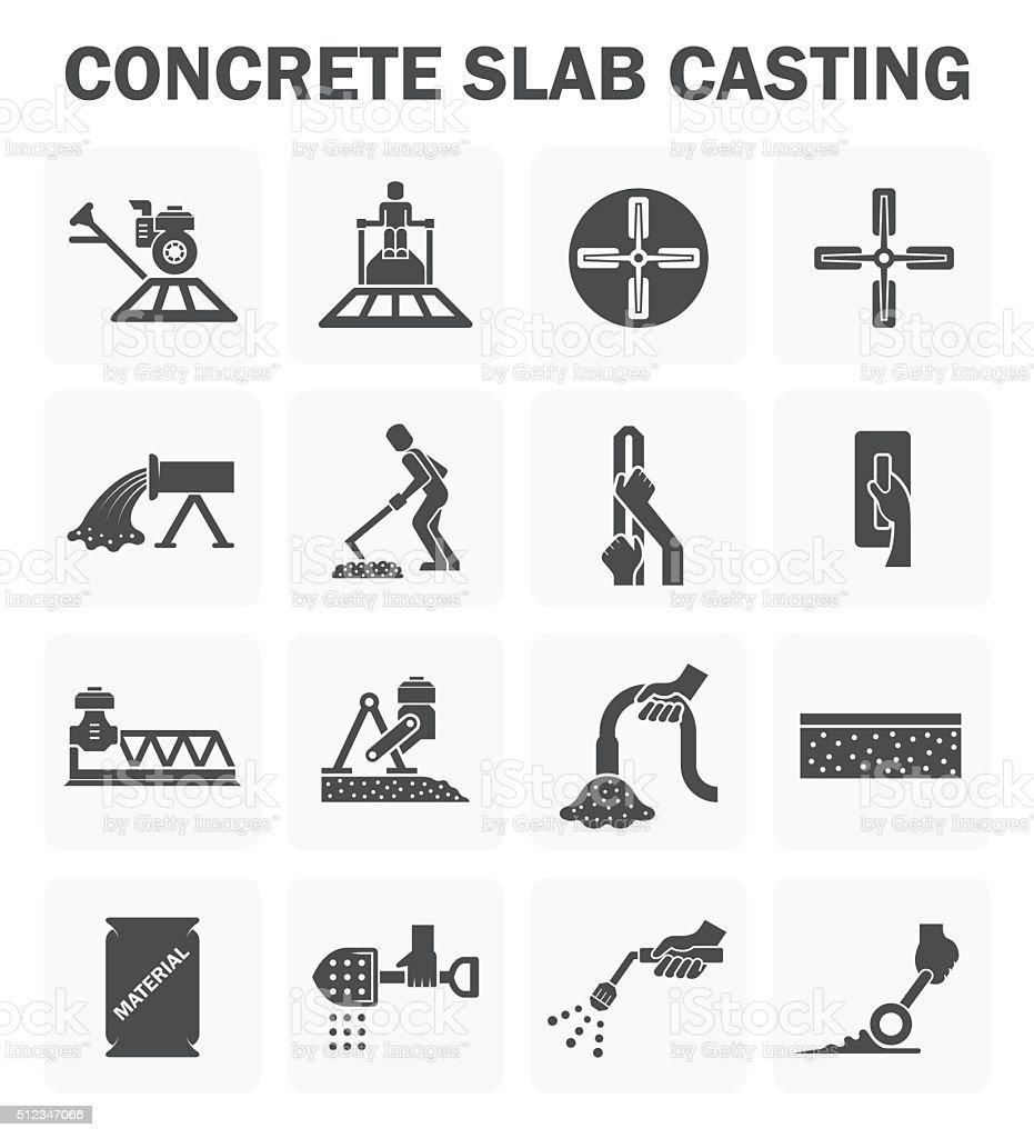 Concrete casting vector art illustration