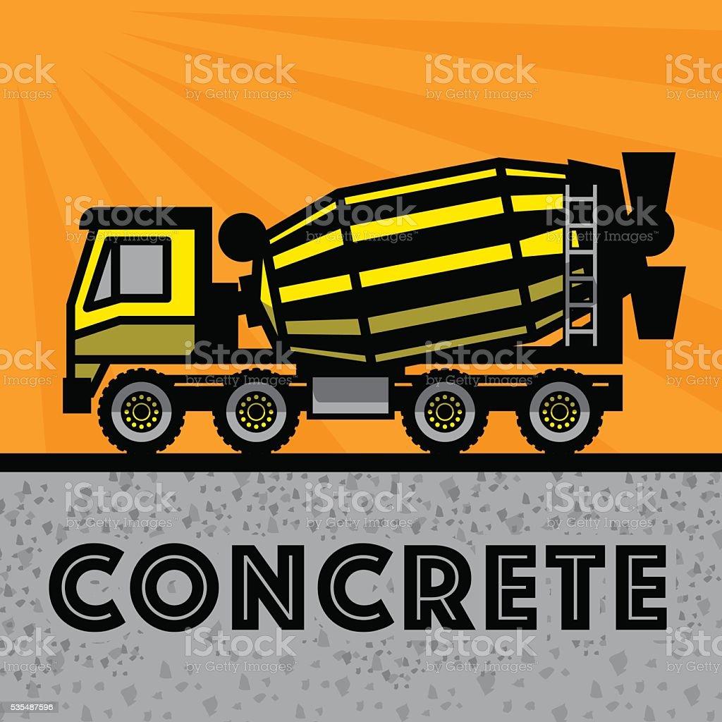 Concrete Mixer Truck vector art illustration