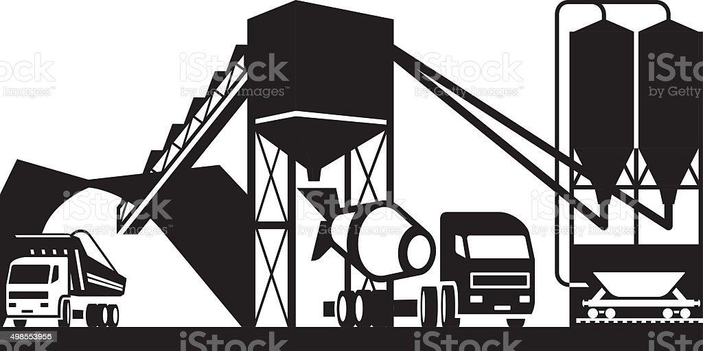 Concrete plant with trucks vector art illustration
