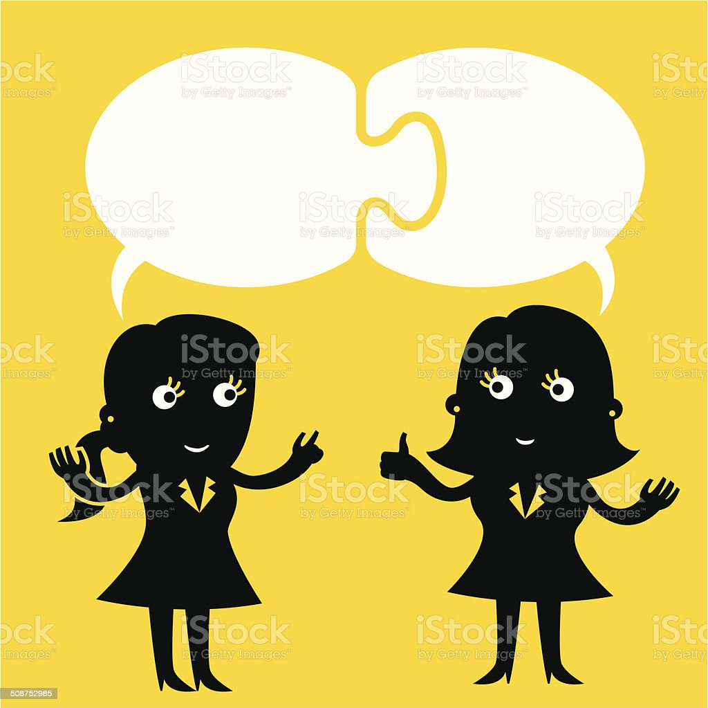 Concurrent Speech Bubbles | Yellow Business Concept royalty-free stock vector art