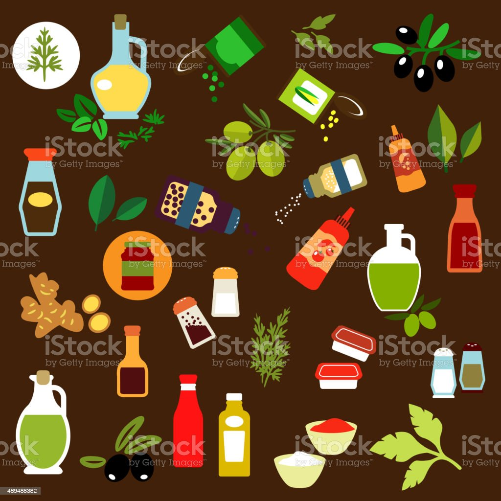 Condiments, spices, herbs and oil flat icons vector art illustration