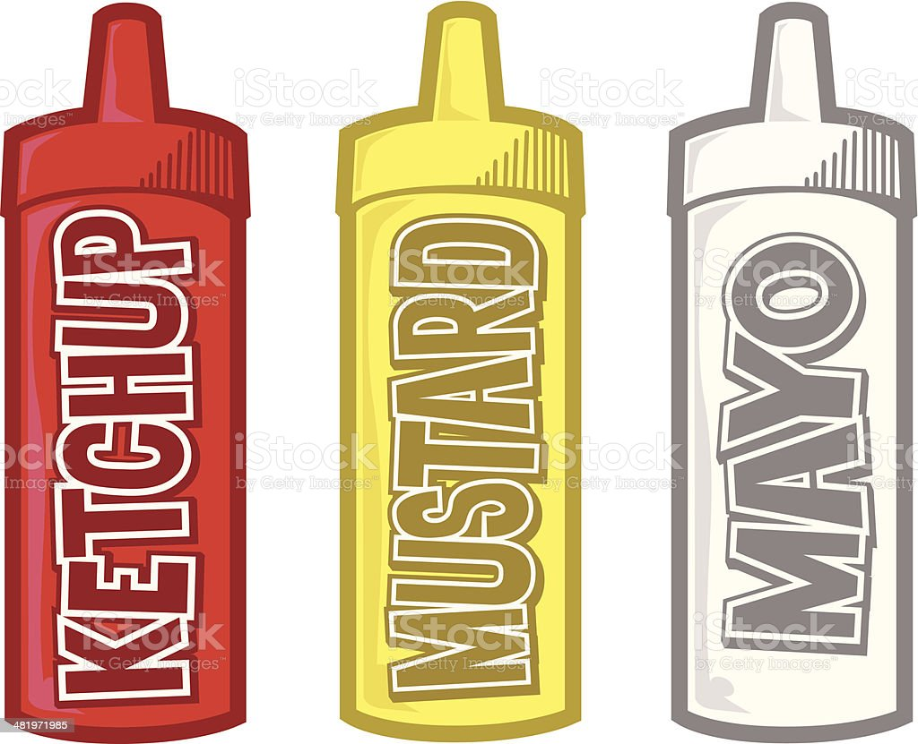 Condiments vector art illustration