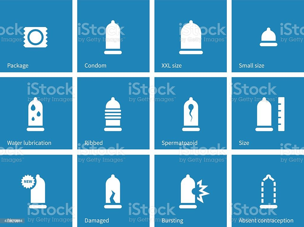 Condom and contraception icons on blue background vector art illustration