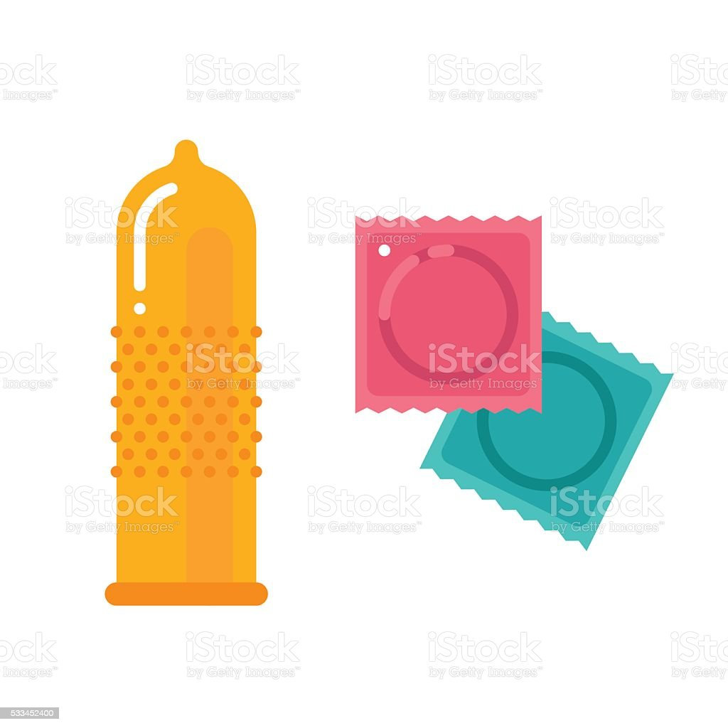 Condom and packages vector art illustration