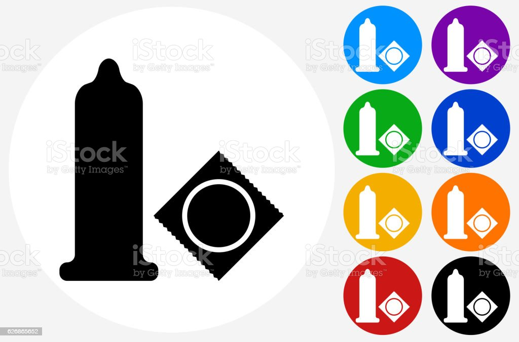 Condom Icon on Flat Color Circle Buttons vector art illustration