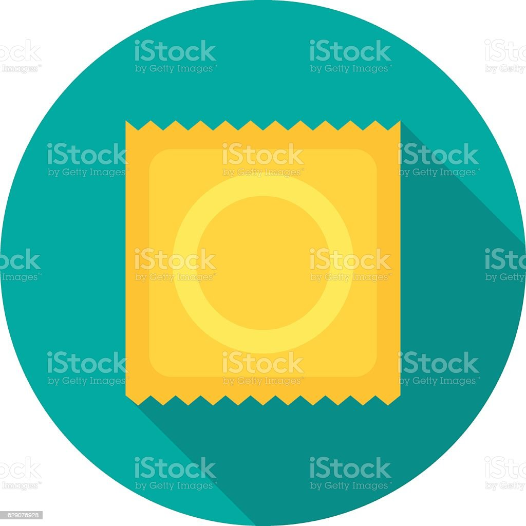 Condom icon with long shadow. vector art illustration