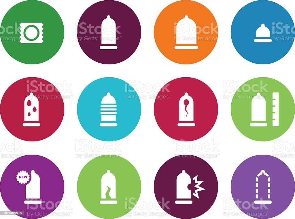 Condom pack circle icons on white background vector art illustration