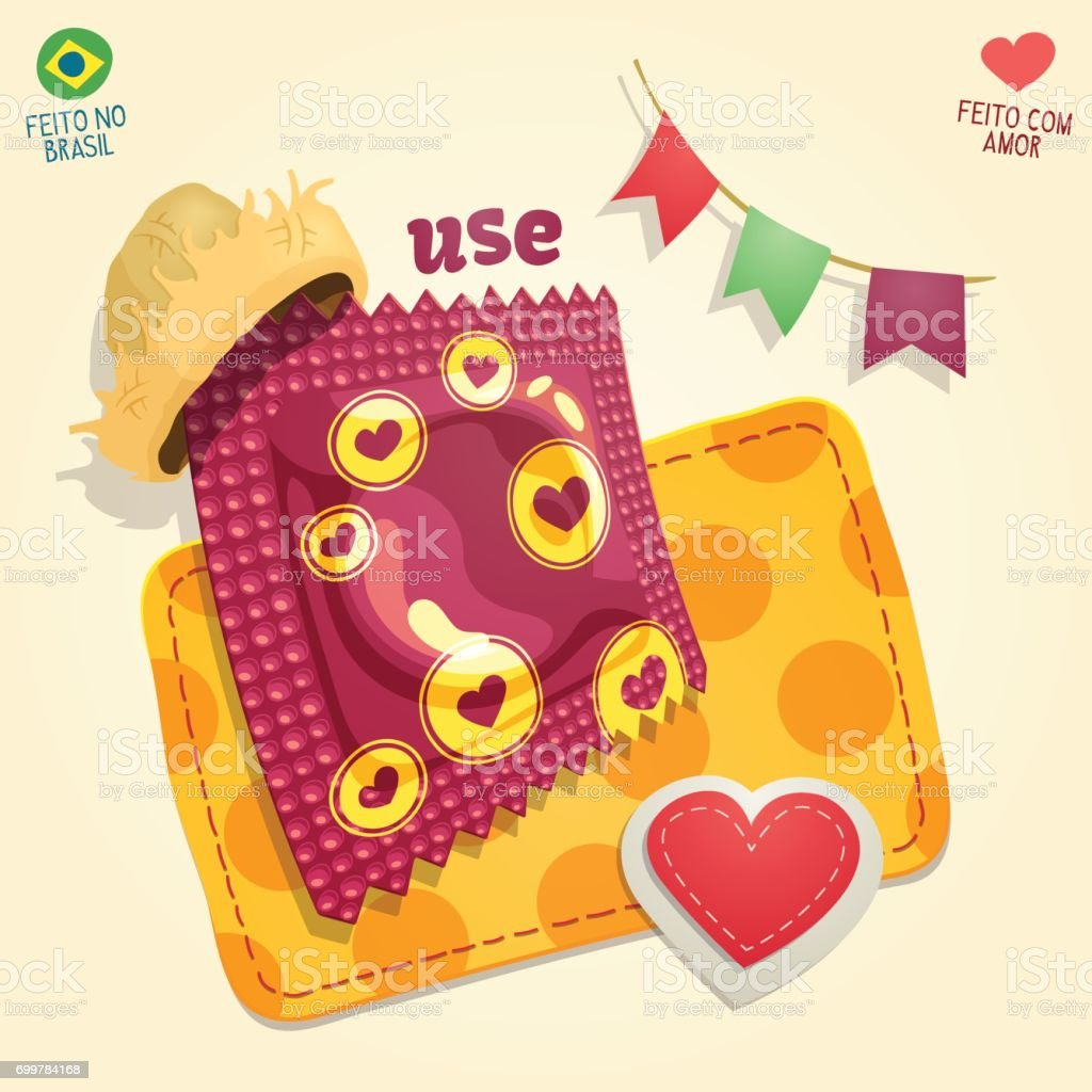 Condom package wearing a straw hat in a brazilian June Party thematic composition. vector art illustration