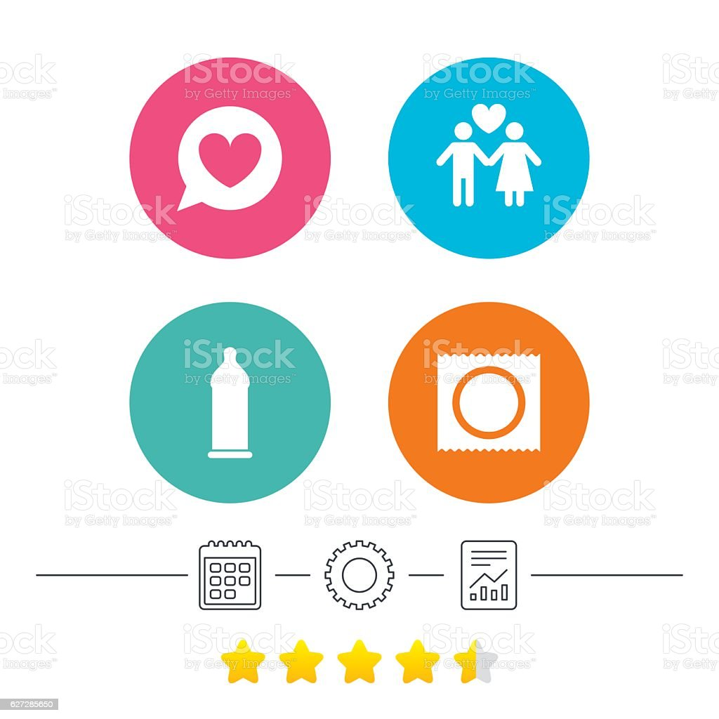 Condom safe sex icons. Lovers couple sign. vector art illustration