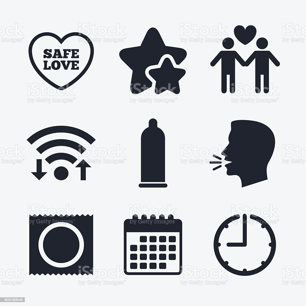 Condom safe sex icons. Lovers Gay couple sign. vector art illustration