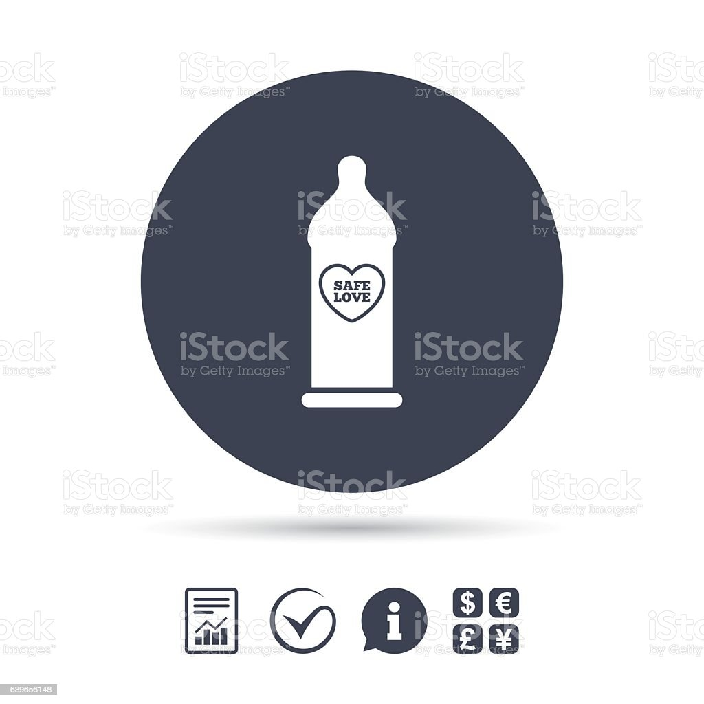 Condom safe sex sign icon. Barrier contraceptive. vector art illustration