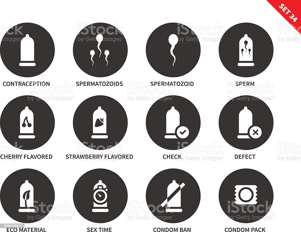 Condoms icons on white background vector art illustration