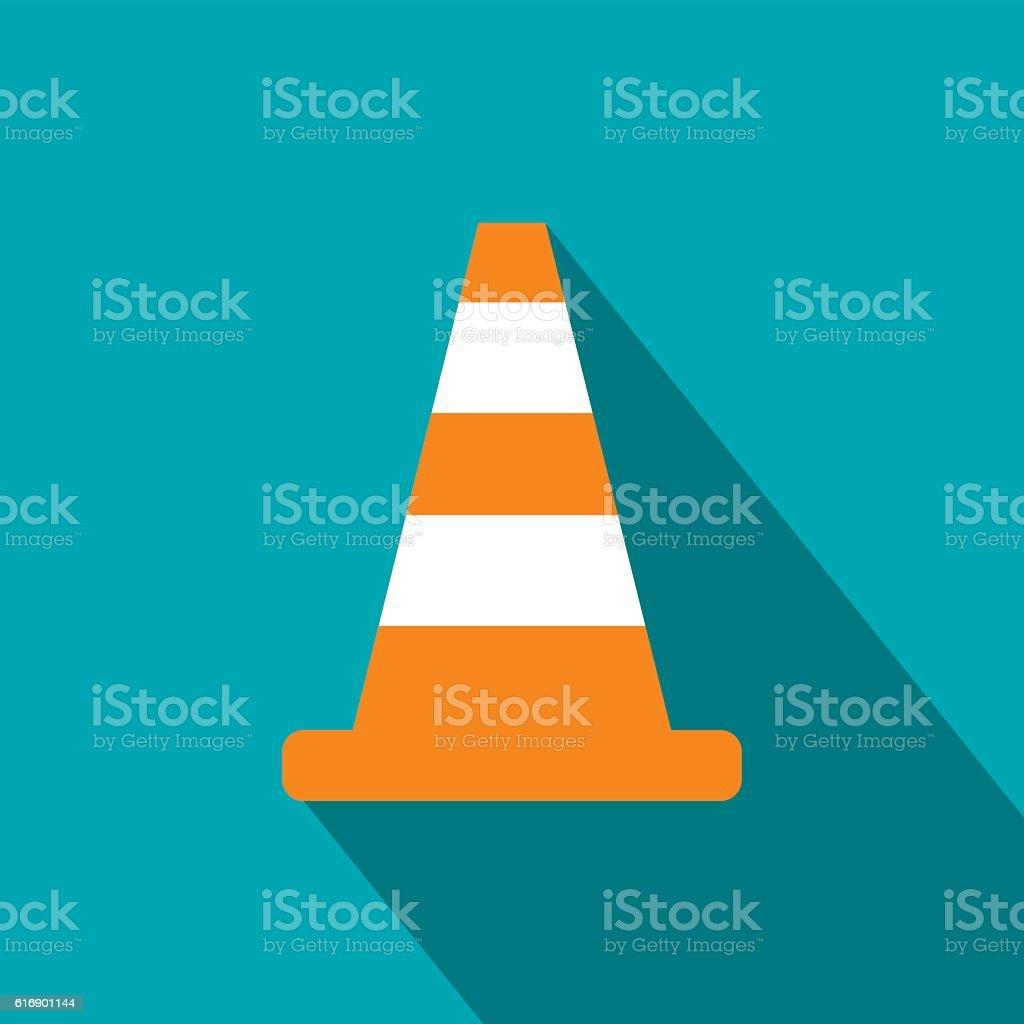 Cone traffic flat icon vector art illustration