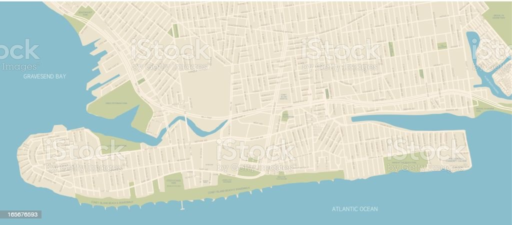 Coney Island Map royalty-free stock vector art
