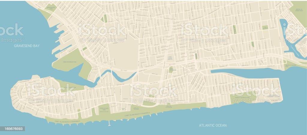 Coney Island Map vector art illustration