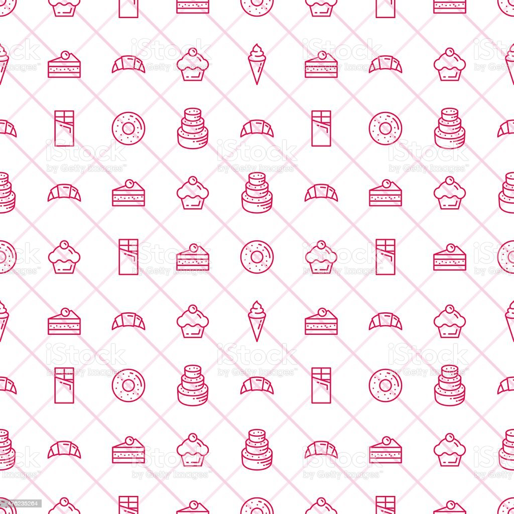 Confectionery and Bakery Seamless Pattern - Stock Vector. vector art illustration