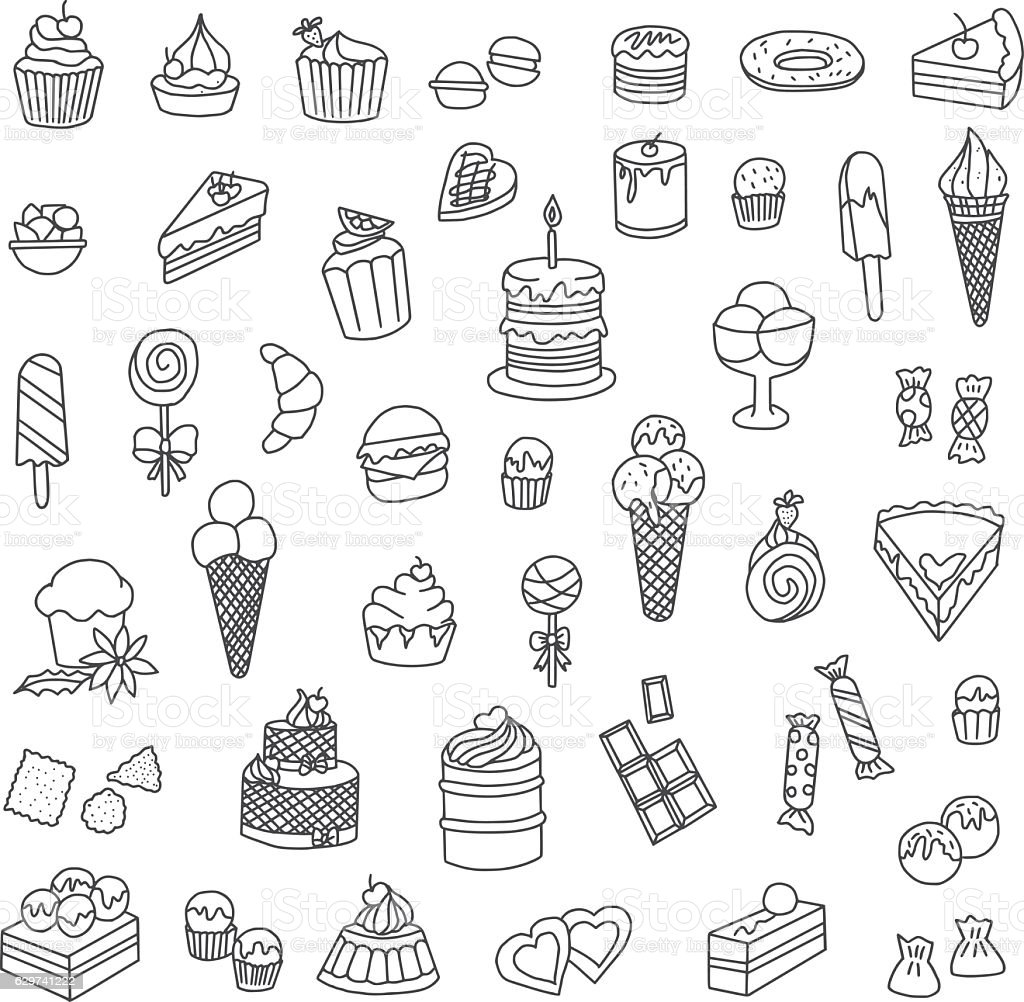 Confectionery Doodles vector art illustration