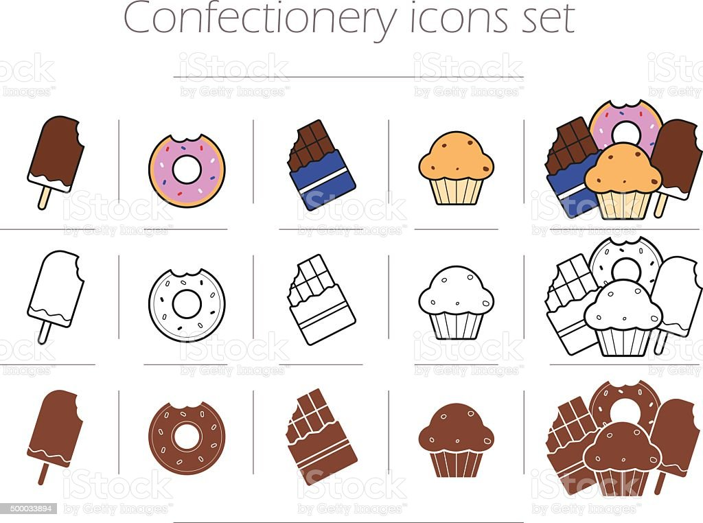 Confectionery icons set vector art illustration