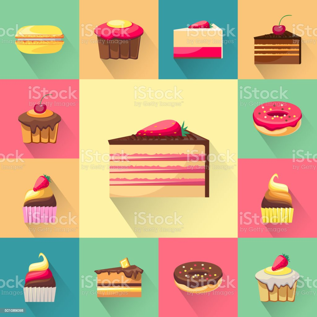 Confectionery set of isolated cakes icons with shadows vector art illustration