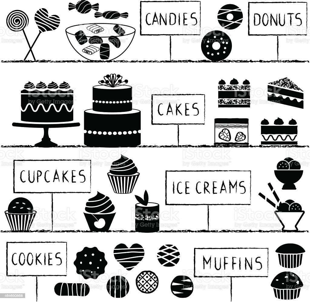 Confectionery set vector art illustration