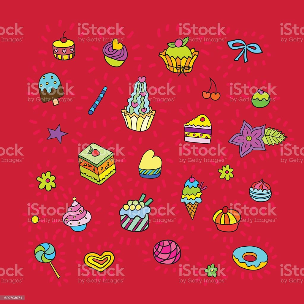 Confectionery Sweet Color Set. vector art illustration