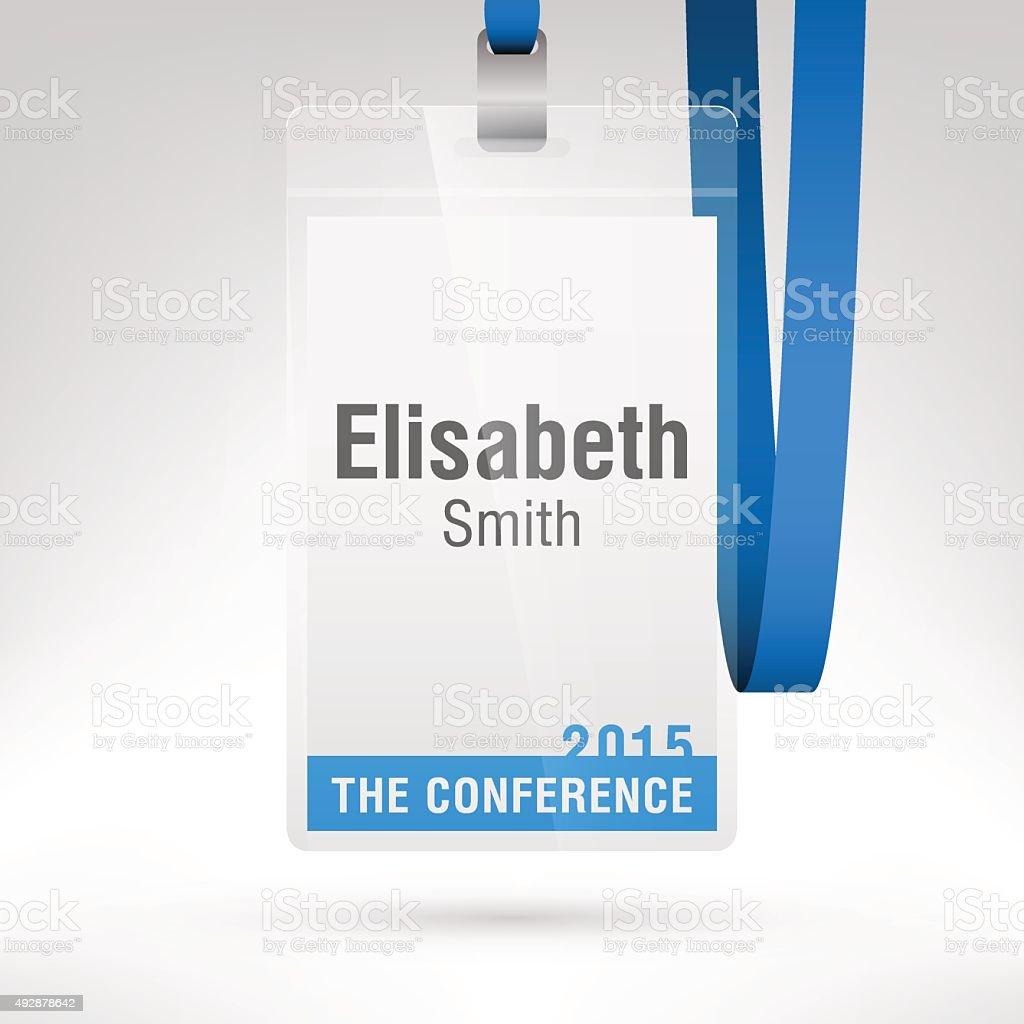 Conference badge vector art illustration