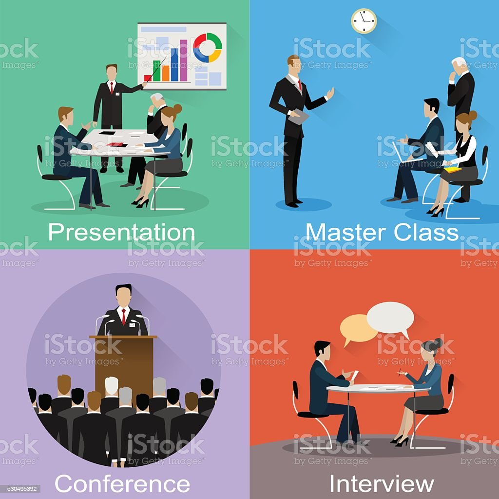 Conference banner set with business concept vector art illustration