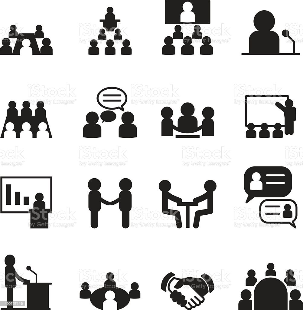 Conference icon set vector art illustration