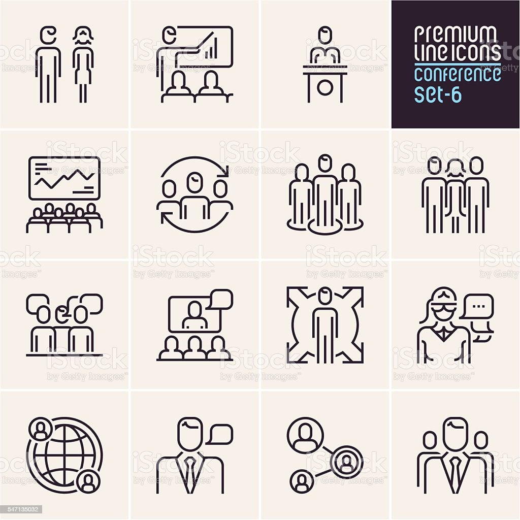 Conference icons, business people vector art illustration
