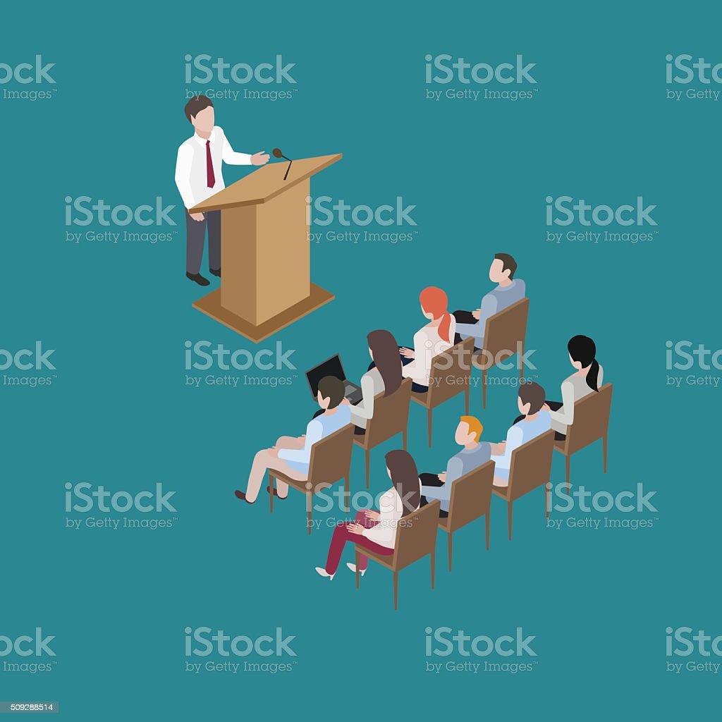 conference man speach vector art illustration