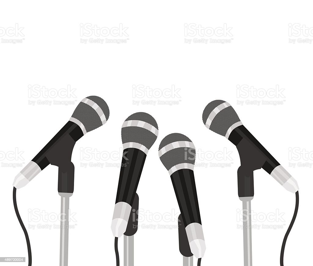 Conference meeting microphones prepared for talker. Isolated on white background vector art illustration