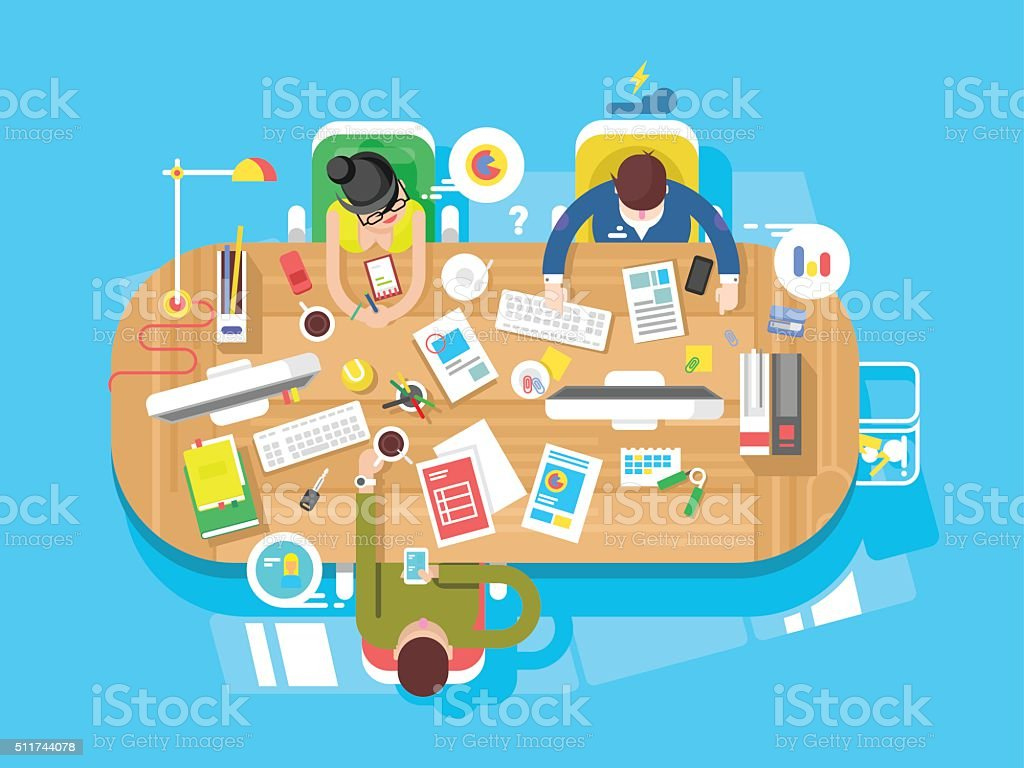 Conference office workspace vector art illustration