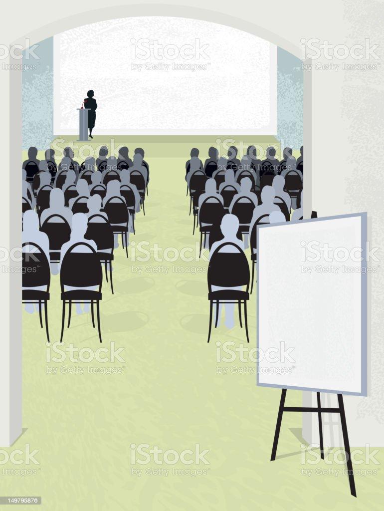 Conference room entrance with easel signage vector art illustration