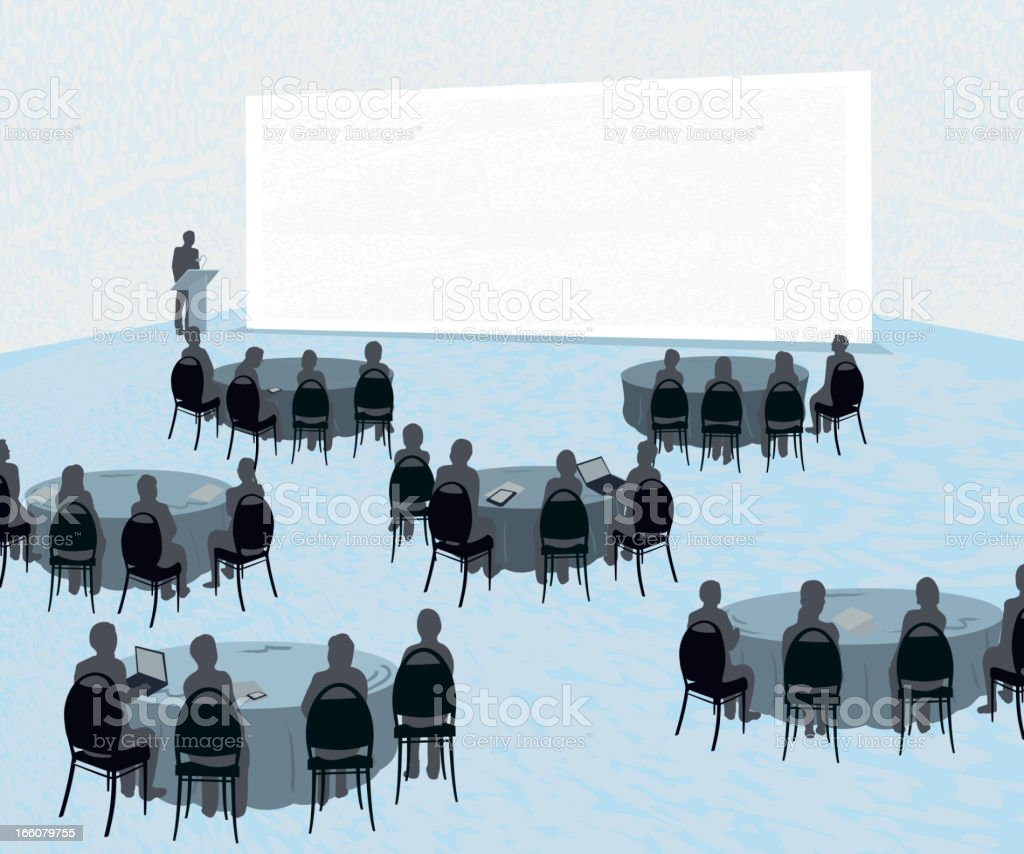 Conference with audience at round tables vector art illustration
