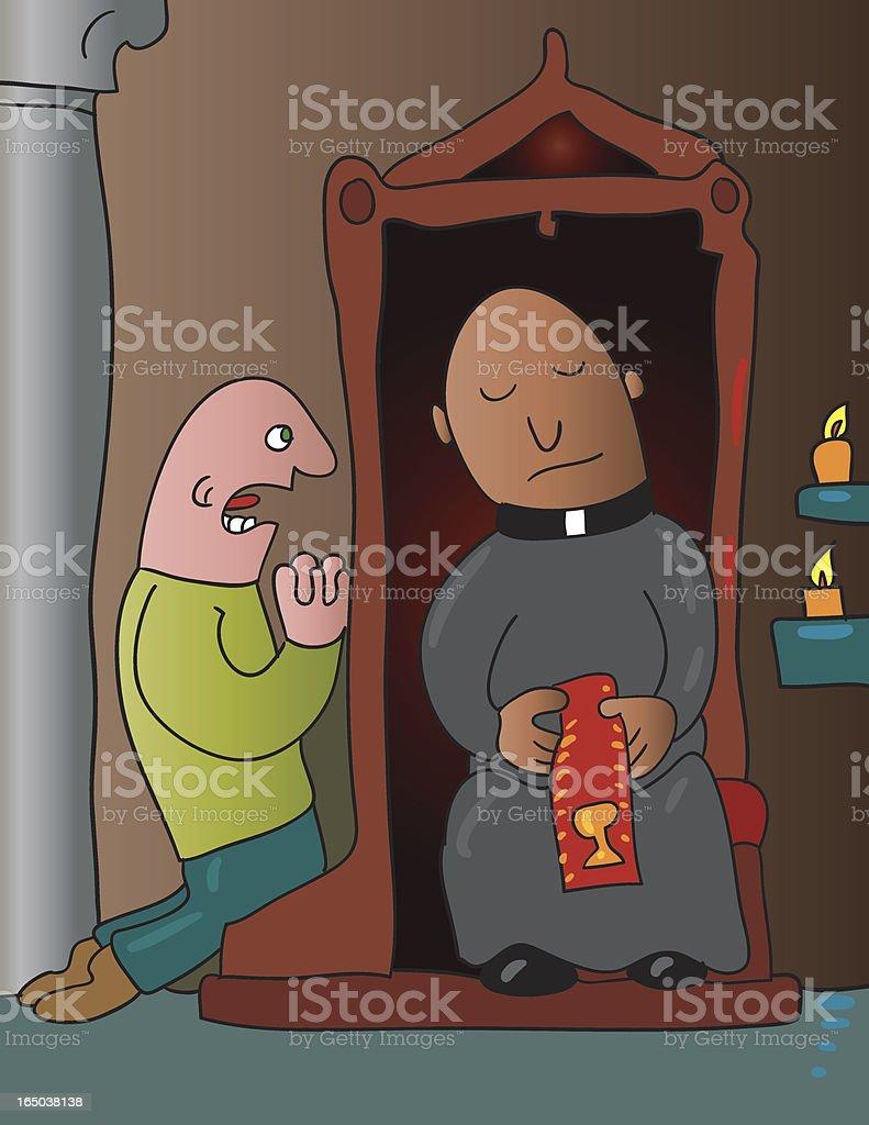 confession vector art illustration