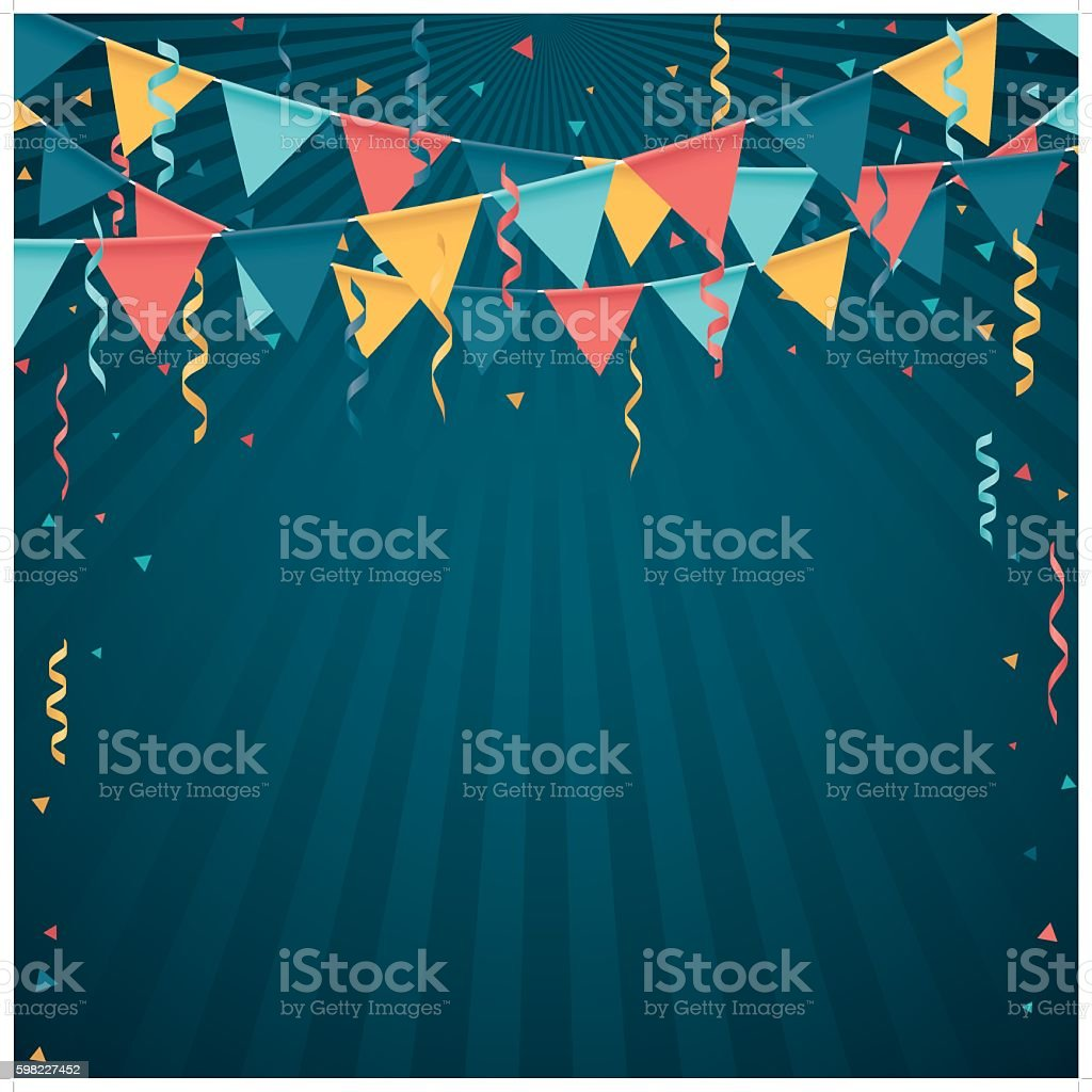 confetti and flag line vector art illustration