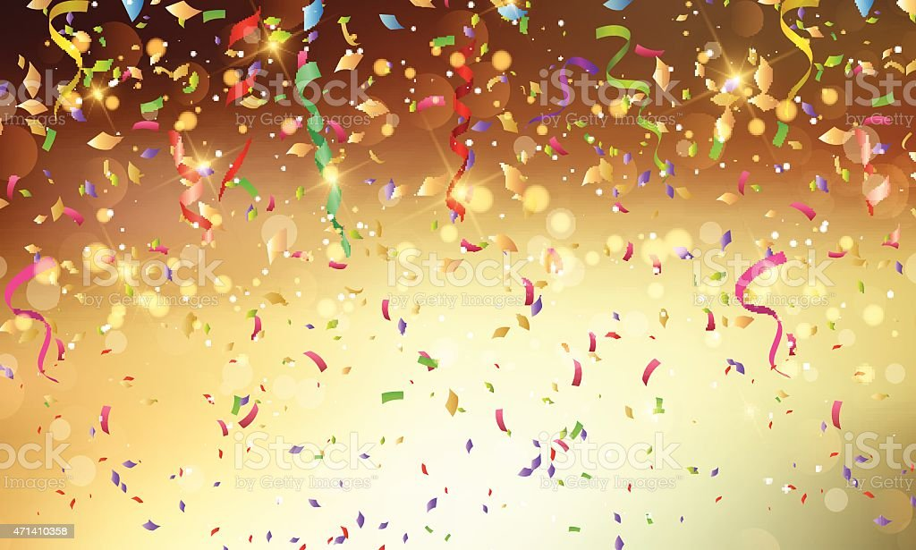 Confetti and streamers background vector art illustration