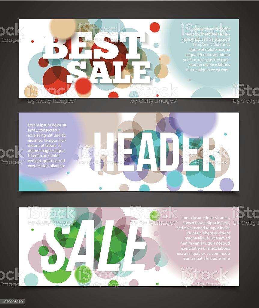 Confetti banner or offer design template. Banner design with hea vector art illustration
