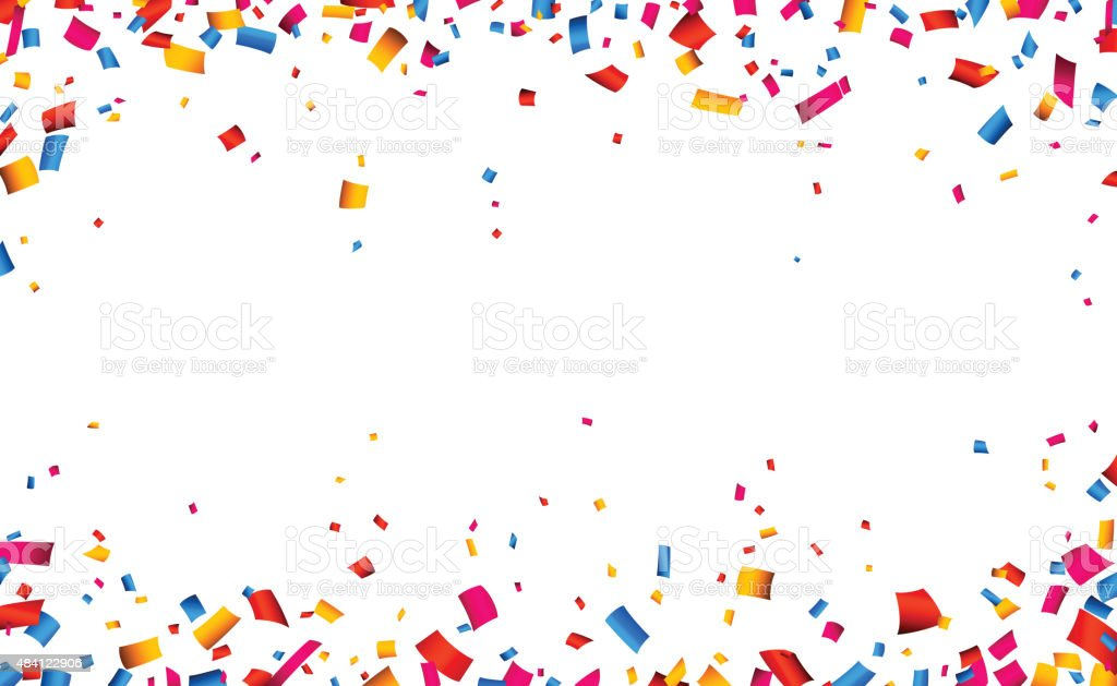 Confetti celebration frame background vector art illustration